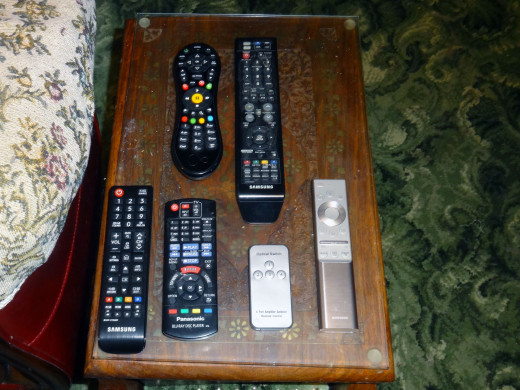 The six remote controls we now use to control our TV and associated equipment