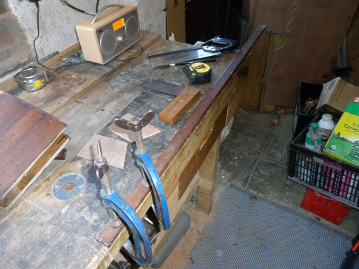 Cutting the base to length from a piece of scrap wood
