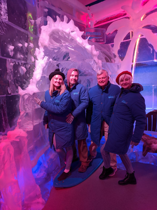 The four of us enjoying the Minus 5° ICE EXPERIENCE Attraction