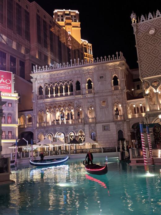Gondolas in pool in front of the Venetian Resort