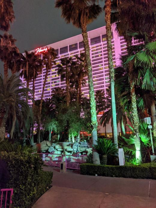Flamingo Resort in Las Vegas at night.