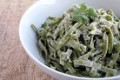 Pesto Spinach Pasta with Pine Nuts and Shrimp or Chicken