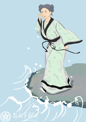 Cao E, committed suicide by jumping into a river after her father drowned there. Considered as a good examples of filial daughters. Han Dynasty