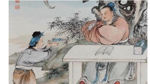 """""""举案齐眉 (Holding the tray up to the eyebrows)"""" A sign of obedience to husband or master."""
