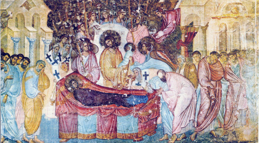 A depiction of Mary's Dormition from 1265