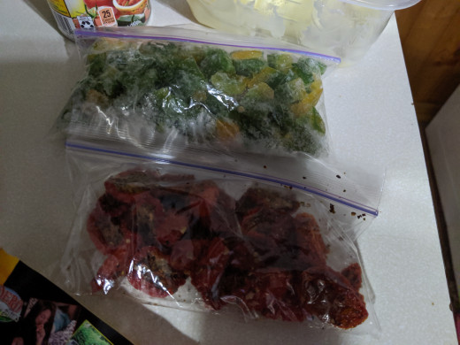 Sweet pepper and dehydrated tomatoes, both frozen