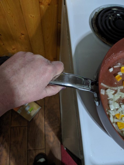 Just a note: the handle on the pan is fairly cool, yet...