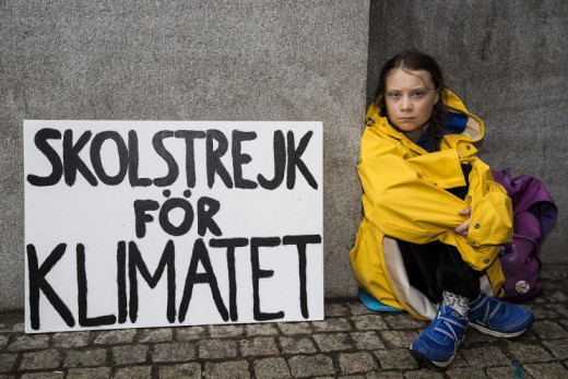 Greta Thunberg campaigning for climate.
