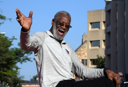 Aug 3, 2019; Canton, OH, USA; Bobby Bell reacts during the Pro Football Hall of Fame Grand Parade on Cleveland Avenue in Downtown Canton.