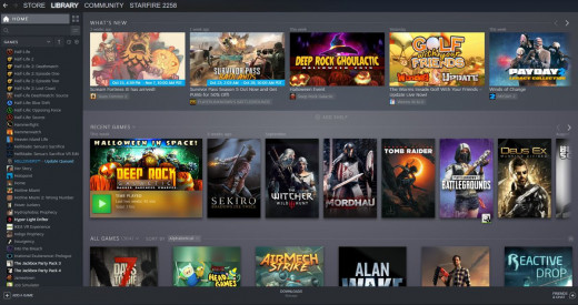 Steam has a large catalogue of games available for purchase.