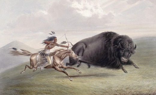 A Catlin painting of a native american buffalo hunt