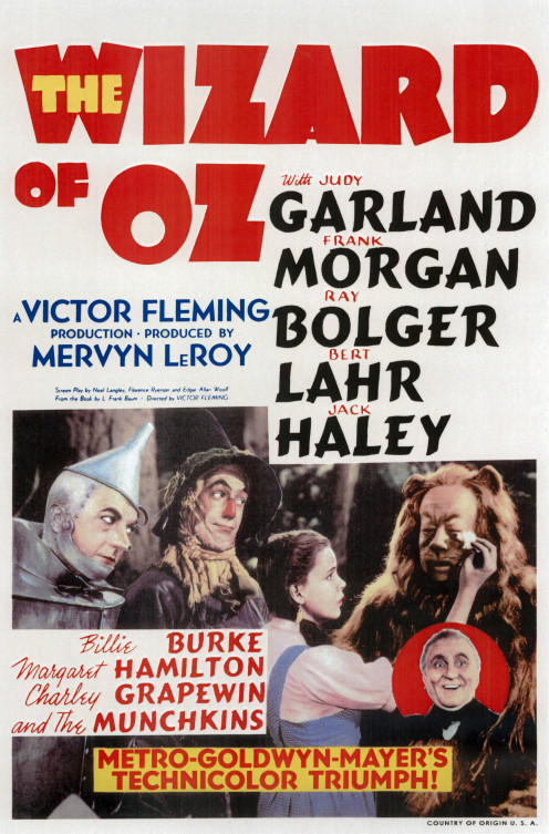 The Wizard of Oz Movie Poster, 1939.