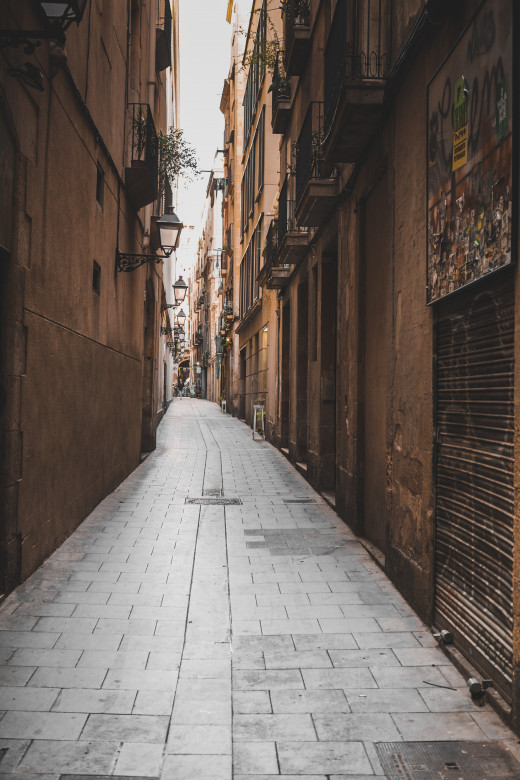 Narrow streets like this one are common in Barcelona.