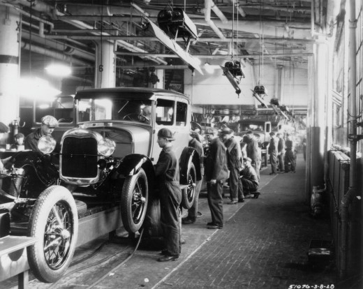 The Ford Model T rolling off the assembly line