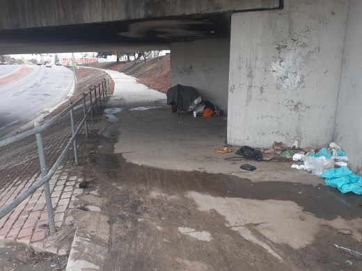 An urban dweller has found shelter in the recesses of an overpass