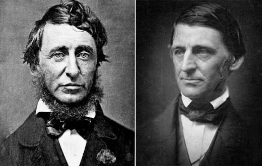Henry David Thoreau, in a daguerreotype by Benjamin D. Maxham in June 1856, and Ralph Waldo Emerson, in a albumen print by Southworth & Hawes around 1857. (Courtesy Wikimedia Commons and the George Eastman House Collection)