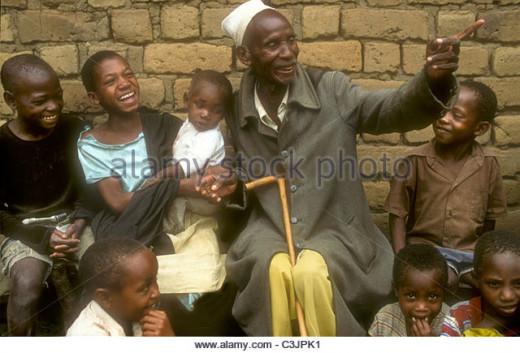 Elder person telling children stories