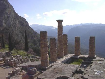 The ruins of the shrine at Delphi