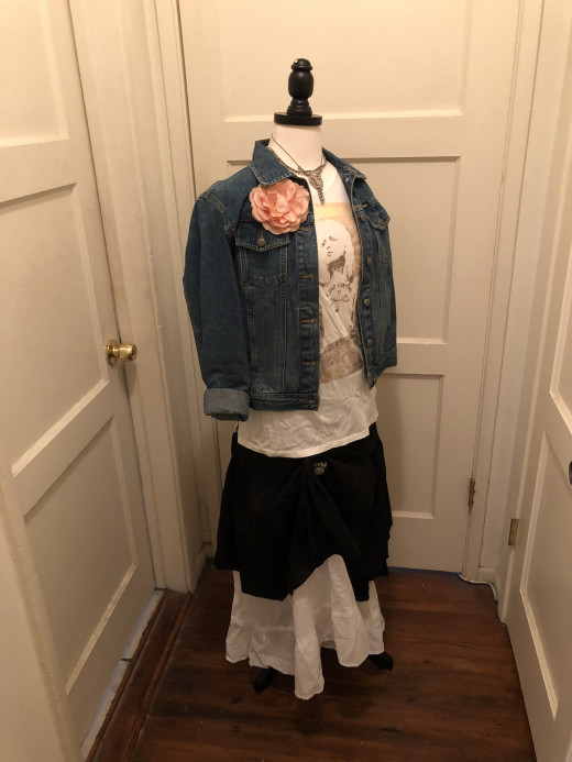 """Denim jacket, t-shirt from """"Target"""" and black and white skirts"""