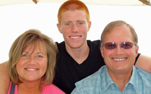 Bryce Laspisa with his parents Karen and Michael Laspisa of Niguel Laguna, California.