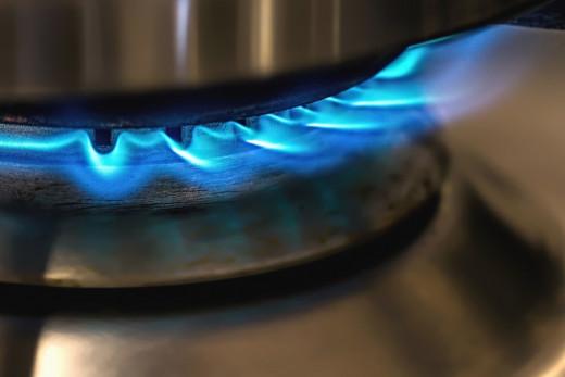 Burning methane through biogas stove