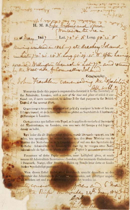 Note from Franklin's Expedition