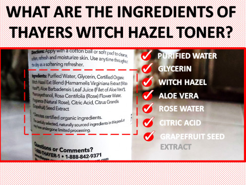 Ingredients of Thayers Alcohol-Free WItch Hazel Toner - Rose Petal