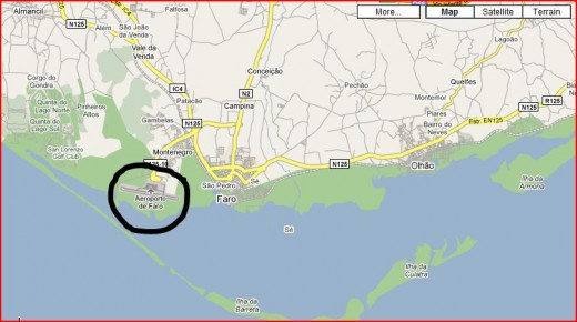 Faro Airport circled