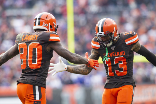 Cleveland Browns wide receivers, Jarvis Landry (80) and Odell Beckham Jr. (13), celebrate after a touchdown during the 2019 season. The duo became the first pair of receivers in Browns history to each gain at least 1,000 yards in the same season.