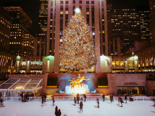 The annual giant Christmas tree at Rockefeller Center, NYC--at last, the season of music has arrived!