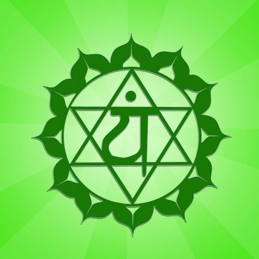 The fourth chakra or heart chakra is located in the center of the chest and is associated with the color green.