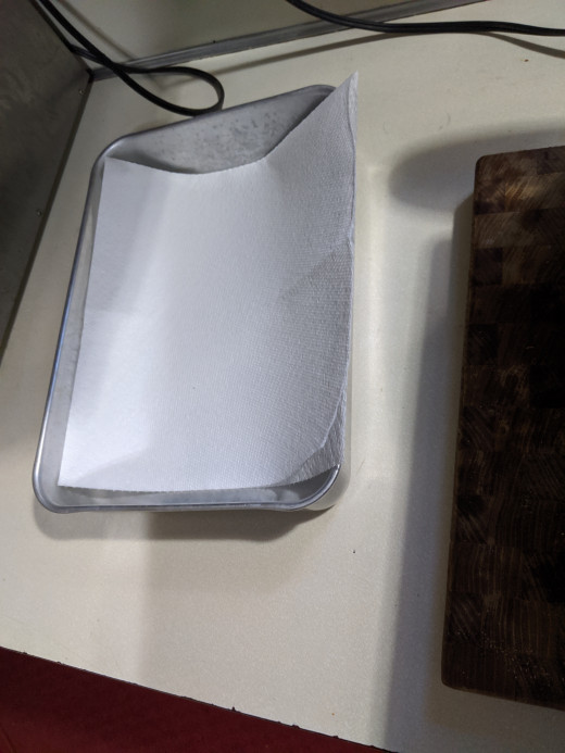Paper towel lined pan