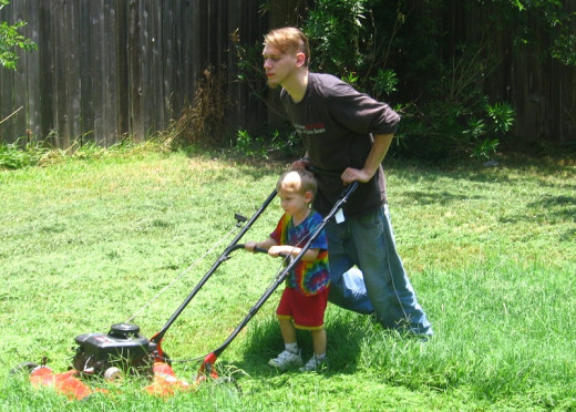 Swapping skills between generations. Providing lawn mowing is a popular skill swap.