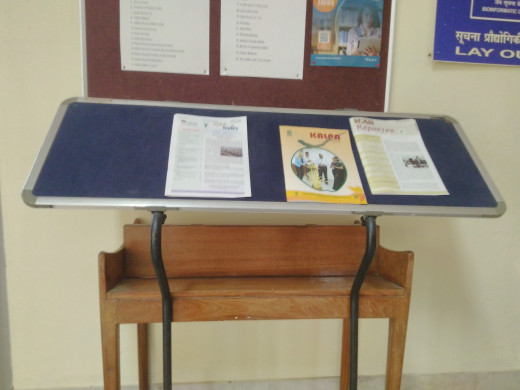 Newsletters displayed in the reading room