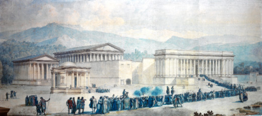 """Reformation of the Three Temples of Baalbek"" (Water colours and ink on paper, 71 x 138 cm , circa 1784-1787) by Louis-François Casas (1756-1827) by Philippe Jabr"