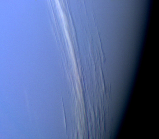 Clouds spotted by Voyager 2 in Neptune's upper atmosphere.