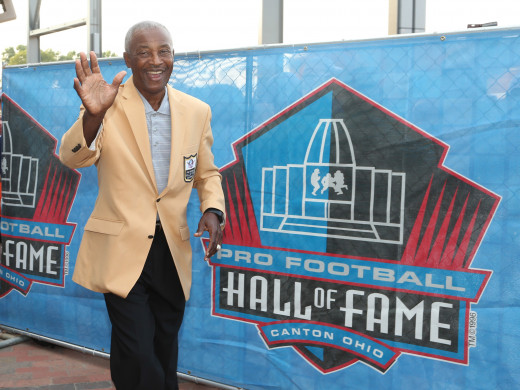 Former Cleveland Browns receiver, Paul Warfield, arrives during the 2017 Pro Football Hall of Fame enshrinement ceremonies at the Tom Benson Hall of Fame Stadium. He is one of several Hall of Famers who have been drafted by the Browns.