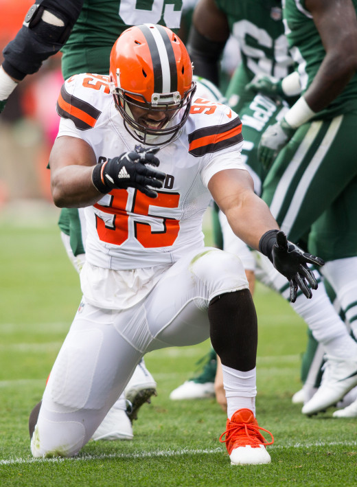 Cleveland Browns defensive end, Myles Garrett, celebrates his sack against New York Jets in 2017. That year, Garrett was the first overall selection in the NFL Draft, and he's one of only five No. 1 picks the Browns have ever made.