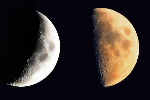 A composite photo showing two lunar phases; a crescent moon and a half moon.