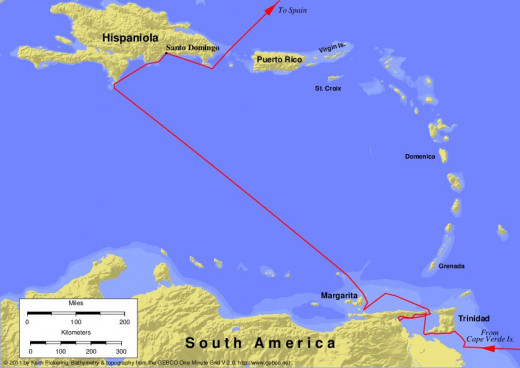 Map of the third voyage of Christopher Columbus, 1498-1500.