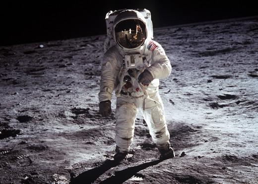 Astronaut Buzz Aldrin walks on the moon, July 20th 1969