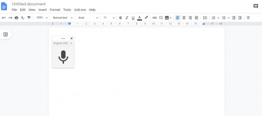 Speech-to-text in google docs