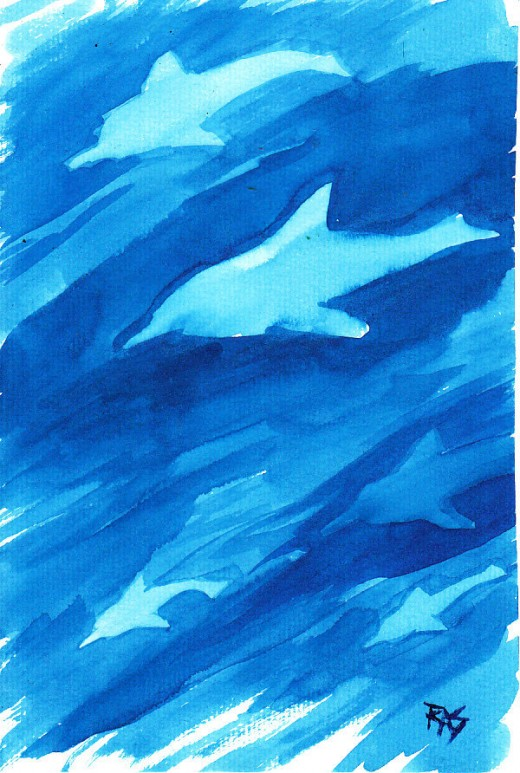 "Dolphins, 6"" x 9"" watercolor, by Robert A. Sloan. Because it's monochrome blue that matches sunlit seawater, paler dolphin silhouettes the right shape look like real dolphins seen through water. There isn't a gray detailed dolphin in with them to mak"