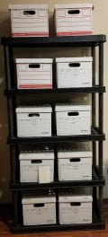 Bankers Boxes and Plastic Shelving - Options for Getting Organized