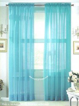 Cute Bathroom Window Curtain With Blue Color
