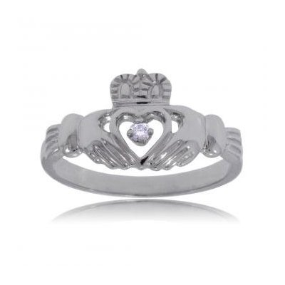 Standard Claddagh wedding ring with a diamond in the middle (click to enlarge)