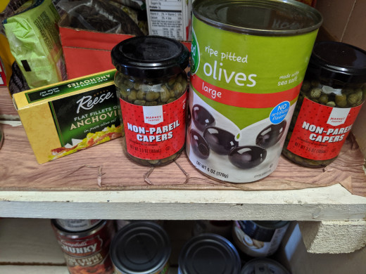 The main ingredients - anchovies, capers, black olives