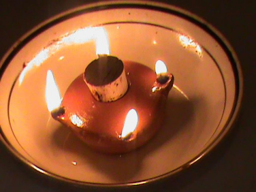 This is a simple, one piece oil lamp with four wicks. It can be used in a ceramic heater or by itself.