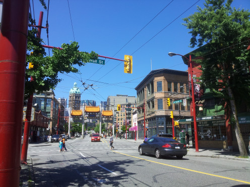 View up West Pender Street, including the Entrance to Chinatown and the Sun Tower. Source: https://web.archive.org/web/20161029212757/http://www.panoramio.com/photo/99461073