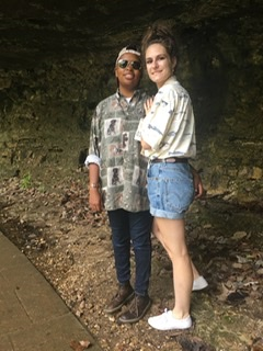 Whole outfits besides my spouse's boots are thrifted from our local hospital thrift store. My shorts were cut from old Levi's jeans from the 90s and rolled into shorts. My shoes were bought from Walmart for $5.